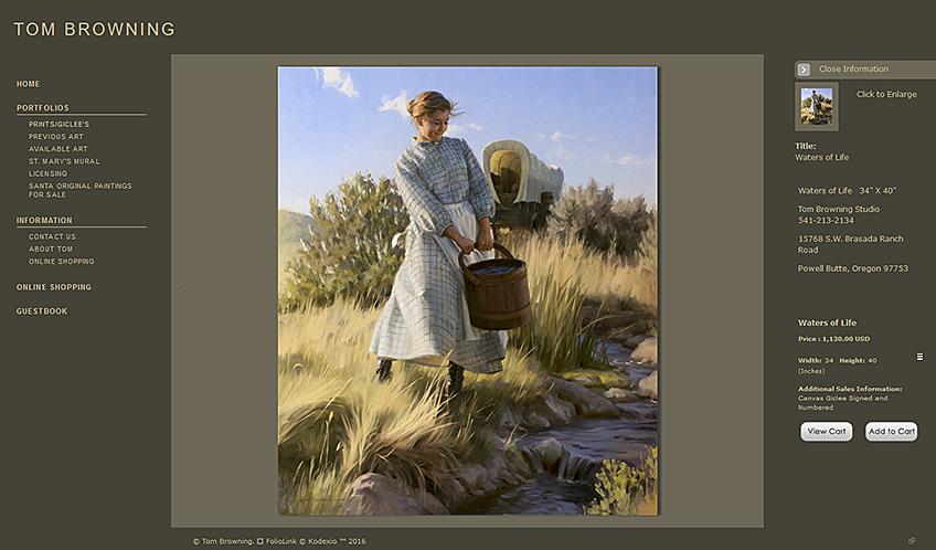 artist tom browning websites website artists professional painters create asp